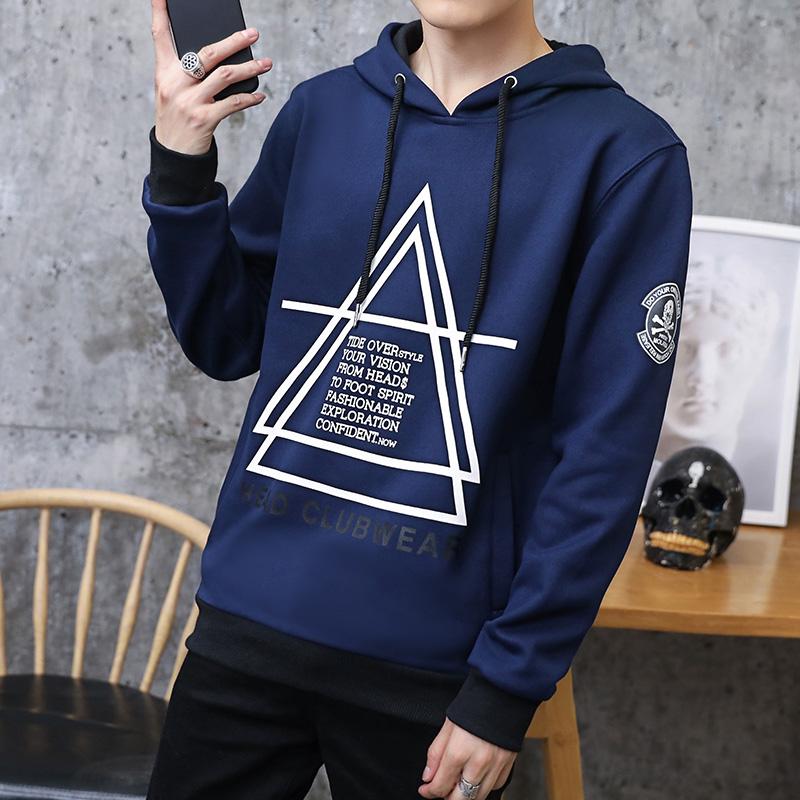 Versi Korea dari musim semi dan musim gugur tampan jaket pria sweater (Biru tua)