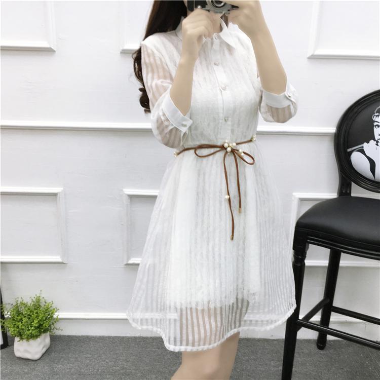Versi Korea dari organza baru bergaris kemeja rok gaun renda putih (Gambar warna)