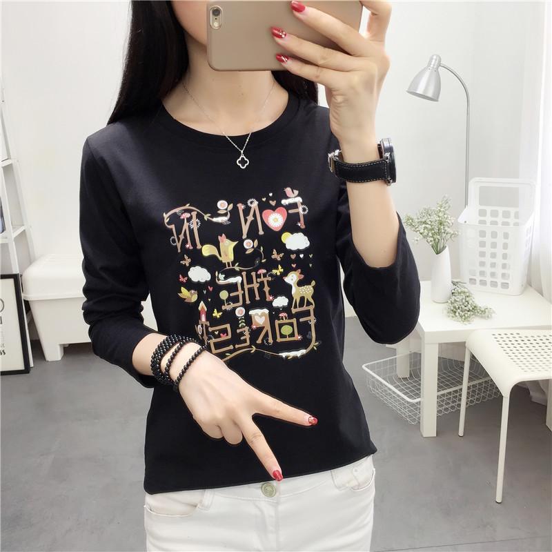 Versi Korea dari perempuan baru dicetak penuh kasih kemeja t-shirt (6289 hitam)