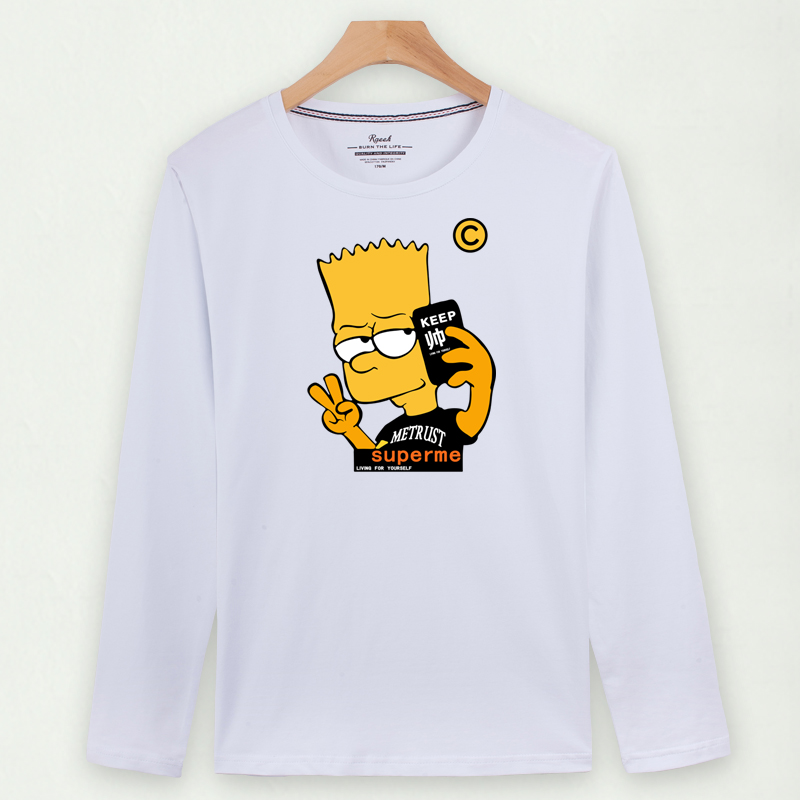 Flash Sale Versi Korea dari pria katun pria musim gugur lengan panjang t- shirt (