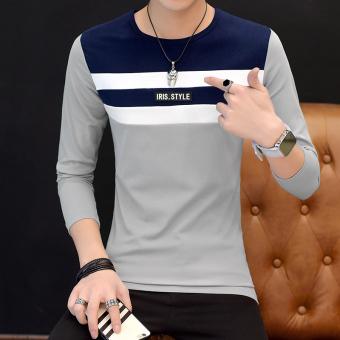 Gambar Versi Korea dari pria leher bulat baru bottoming kemeja musim gugur lengan panjang t shirt