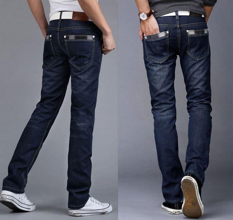 Versi Korea dari pria Slim bisnis celana lurus celana jeans (2000 biru tua)