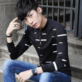 ... Versi Korea dari pullover Slim sweater musim gugur lengan panjang t shirt Hitam