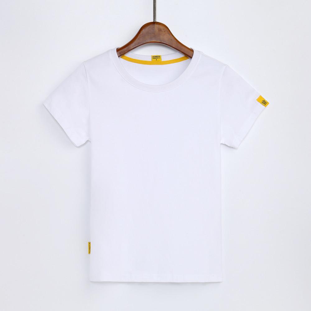 Versi Korea dari rajutan katun warna solid blus t-shirt (Putih-tidak ada