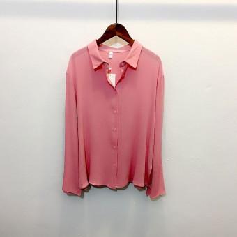 Terbaik Murah Versi Korea dari sifon warna solid musim semi kemeja kemeja lengan panjang (Merah muda) Belanja Terbaik