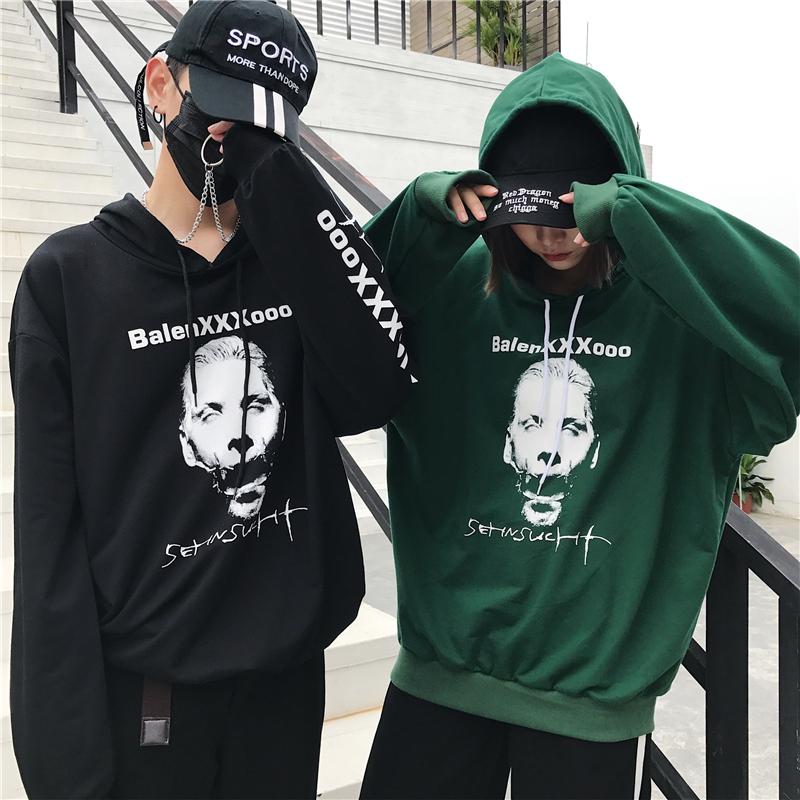 Versi Korea dari siswa laki-laki berkerudung sweater (Hijau)