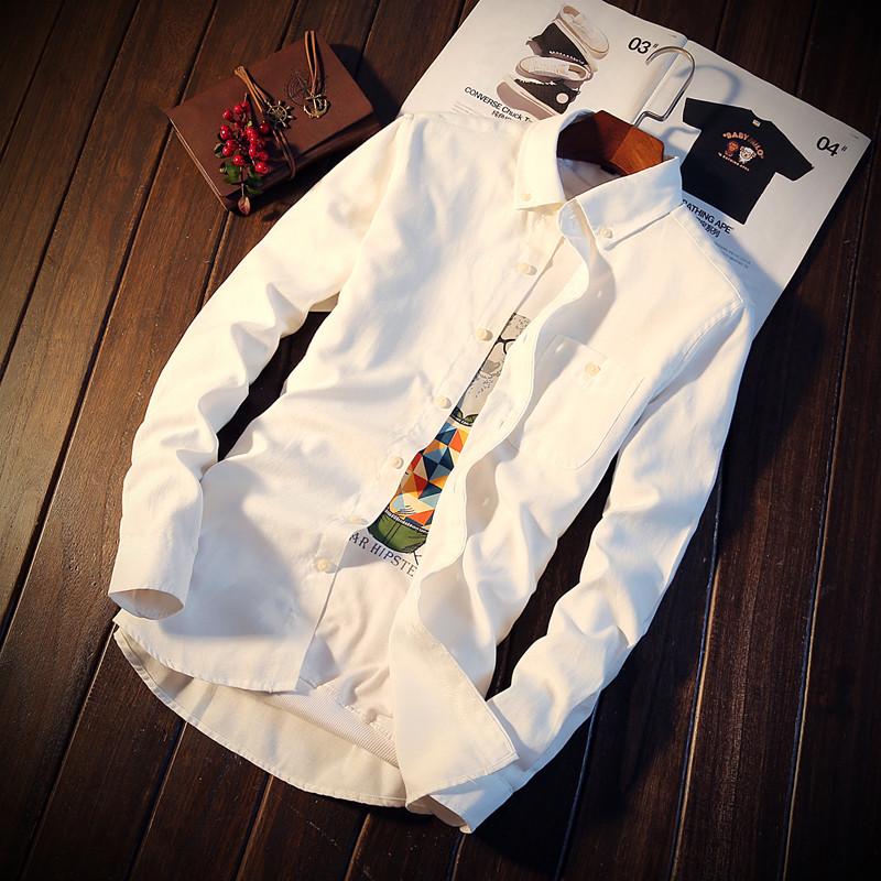 Flash Sale Versi Korea dari warna solid laki-laki lengan panjang kemeja putih kemeja putih