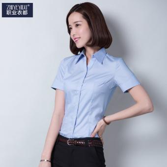 ... Harga Penawaran Versi Korea dari warna solid perempuan lengan pendek musim panas kemeja karir kemeja putih