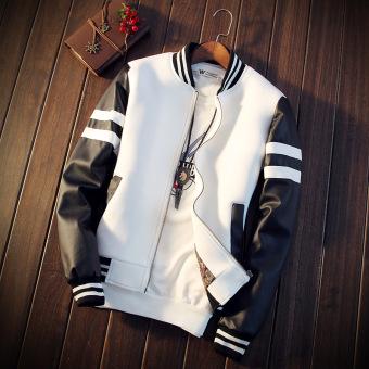 Versi Korea laki-laki Slim Musim Semi dan Gugur pria jaket kulit (Putih)