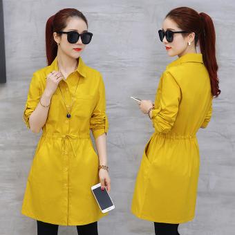 ... Gaun Sifon Source · Gambar Versi Korea perempuan lengan panjang bagian panjang kemeja kemeja putih Kuning