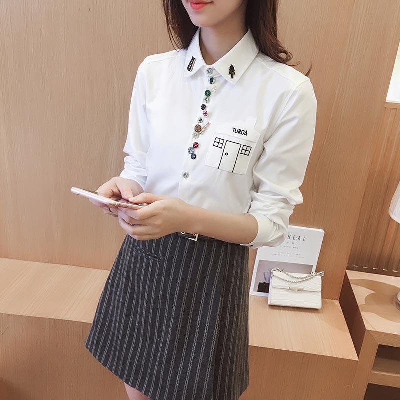 Versi Korea perempuan lengan panjang baru longgar kemeja kemeja putih (Putih) (Putih)