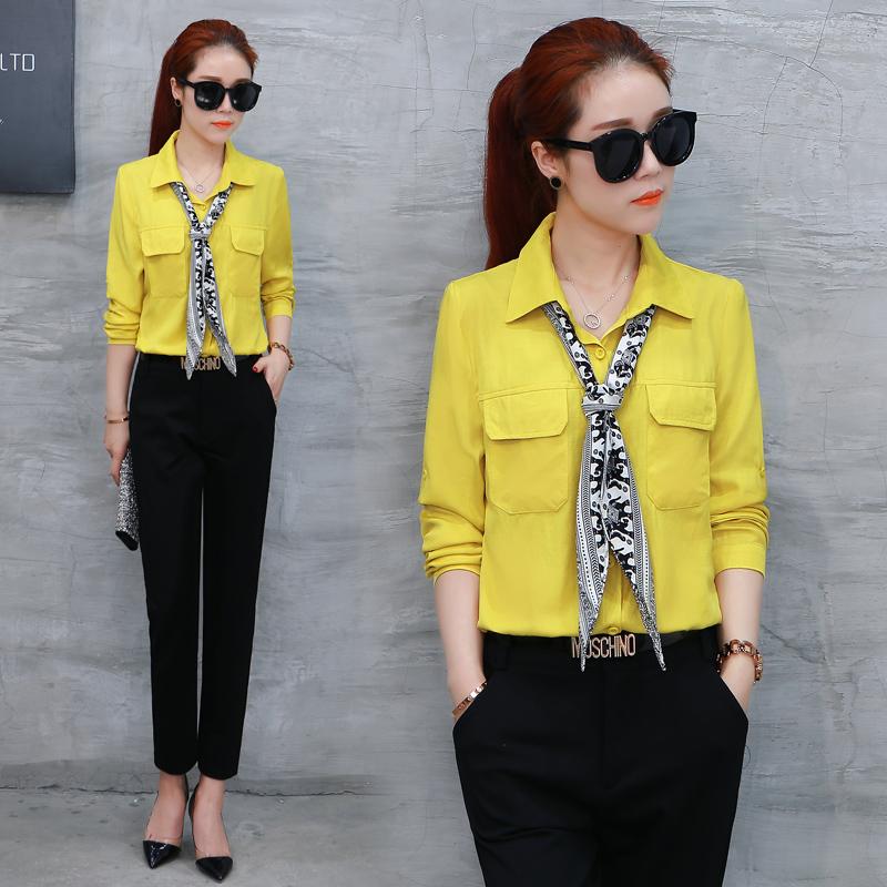 Versi Korea perempuan lengan panjang baru Slim kemeja profesional kemeja warna solid Kuning