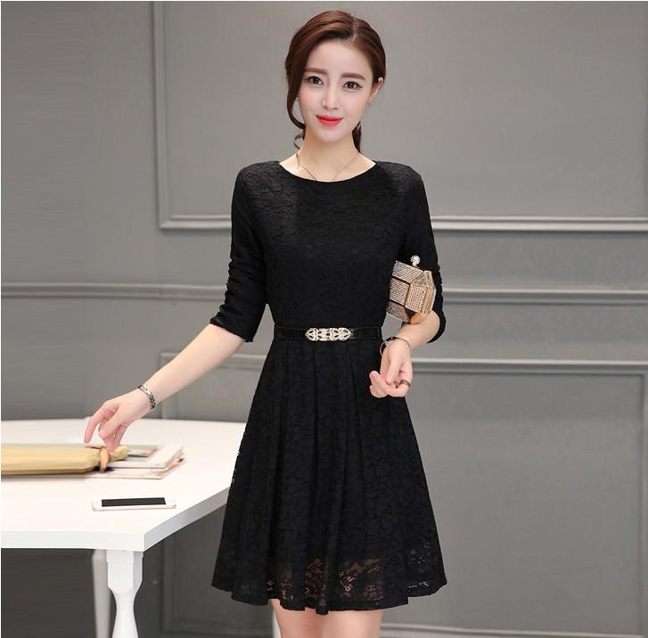 Flash Sale Versi Korea perempuan musim semi baru Slim bagian panjang rok  gaun (Hitam tidak 8fc1fe2d35