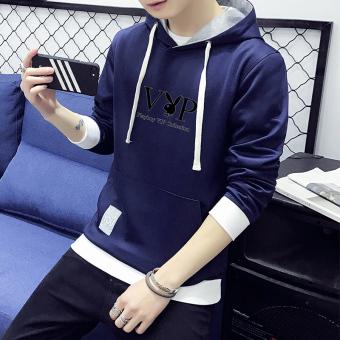 Versi Korea Playboy laki-laki siswa berkerudung sweater (Biru tua)