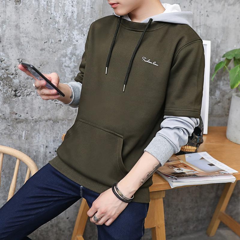 Flash Sale Versi Korea pria berkerudung pullover musim semi dan musim gugur sweater (Hijau tentara)
