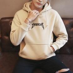 Tren anak muda lengan panjang hoodie longgar jaket olahraga kasual sweater (Y42 khaki cahaya)