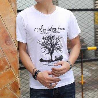 Versi Korea putih leher bulat longgar lengan pendek t-shirt (Putih Pohon)