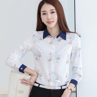 Gambar Versi Korea sifon dicetak wanita lengan panjang baru blus kemeja (Putih) (Putih