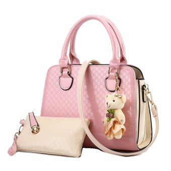 Vicria Tas Branded Wanita 2in1 - High Quality PU Leather Korean Elegant Bag Style - Merah
