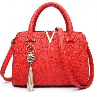 Vicria Tas Branded Wanita - Korean High Quality With Exclusive Unique Tuft - RED