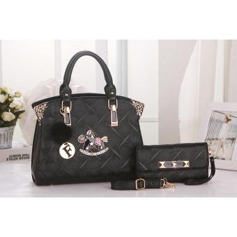 Vicria Tas Import Wanita 2in1 High Quality PU Leather Korean Elegant Bag Style Tas Branded 502 2in1 Black