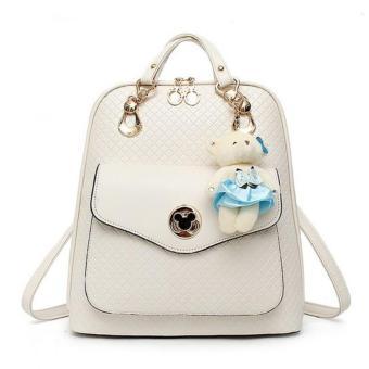 Vicria Tas Ransel Branded Wanita - Korean High Quality Bag Style - Beige
