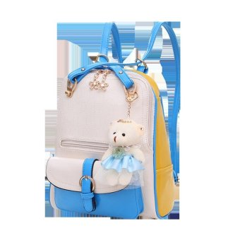 Vicria Tas Ransel Branded Wanita - Limited Edition High Quality Pu Leather Korean Bag Style - Beige