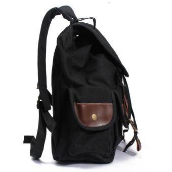 AEQUEEN Vintage Canvas Leather Perjalanan Ransel Olahraga Rucksack Satchel Camping School Bag Hitam