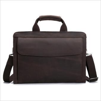 Vintage genuine crazy horse leather Men's briefcase messenger bag laptop bag shoulder bag cross body bag - intl - 2