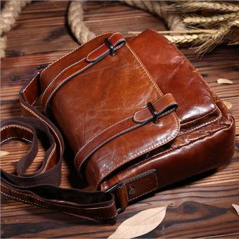 Vintage genuine crazy horse leather Men's messenger bag shoulder bag cross body bag - intl - 2
