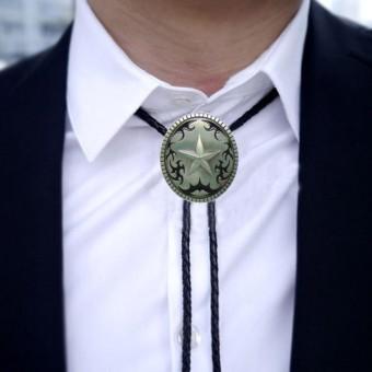 Vintage Silver Western Star Oval Cowboy Rodeo Bolo Tie Ancient Necktie Necklace Black - intl