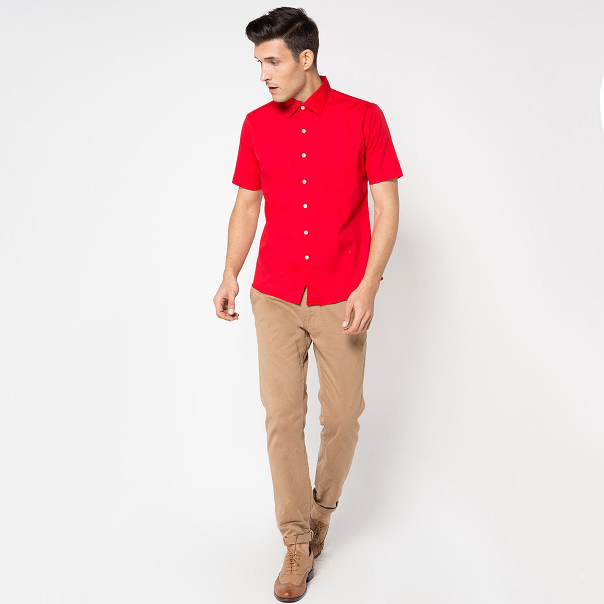 Vm Kemeja Pria Polos Slimfit Basic Pendek Biru Muda Soft Blue Short Baju Kekinian Fonzi Softblue Ot Katun Stretch Merah Red Shirt
