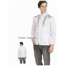 Vrichel Collection Baju Koko Pria Bordir (Putih)