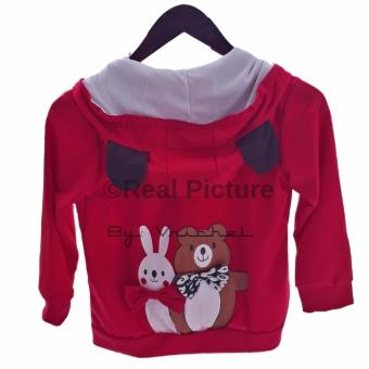 Vrichel Collection - Jaket anak perempuan Bear & bunny (merah) -