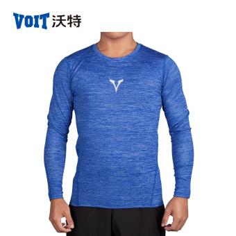Walter kebugaran pakaian kompresi pakaian pelatihan pakaian t-shirt (Biru)