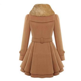 Wanita Bergaya Kasual Lengan Baju Panjang Wanita Faux Fur Kerah Jas Berkancing Dua Jaket Mantel Wol Tebal Mantel Parit Lebih Tahan Dr - 5