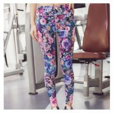 ... Wanita Motif Bunga Celana Yoga Kebugaran Olahraga Lari LeggingPinggang Tinggi Peregangan Spandeks Ketat Celana Latihan Olahraga