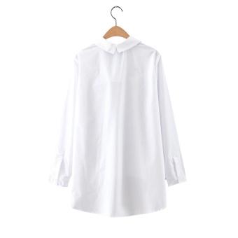 Wanita V-neck Leopard Pocket Cotton Lengan Panjang Blus Longgar Putih Kemeja Wanita Fashion Streetwear