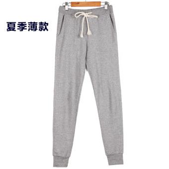 Beli Wei celana tipis perempuan celana ditambah beludru celana olahraga (Abu-abu terang musim panas ayat) Murah