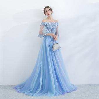 Flash Sale Weimeijiayi Biru Kelopak Bunga Mempelai Wanita Baju