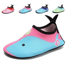 Welltree Kids Swim Bertelanjang Kaki Kulit Aqua Sepatu Kaus Kaki Pink Biru 2.5-Little Kid 35.36-Intl