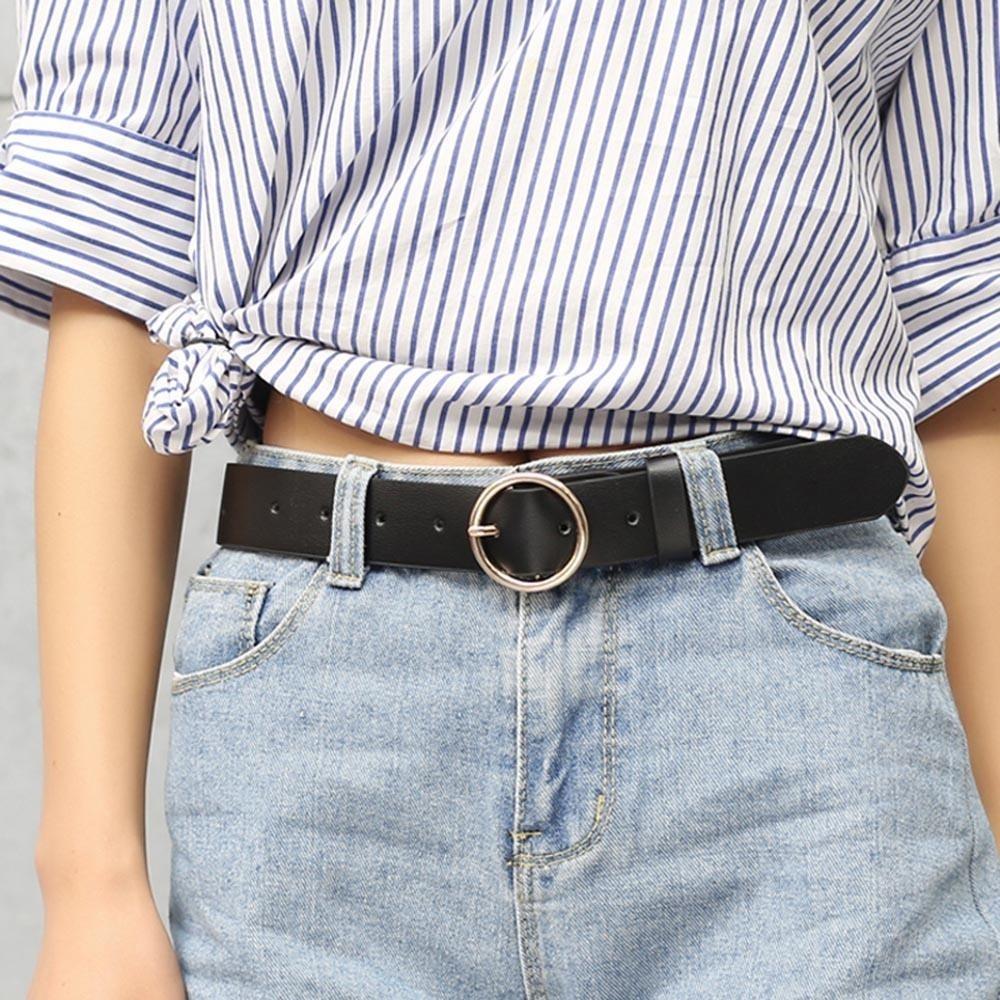 ... Whyus-Korean Style Women Girls Casual Alloy Round Buckle Faux Leather Waist Belt (Black ...