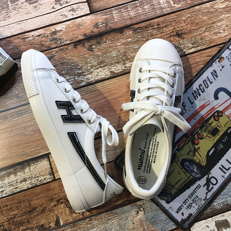 Flash Sale Wild leather New style lace white shoes Shoes (M Hitam)