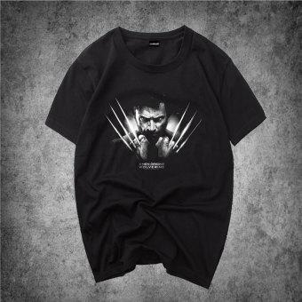 Cari Bandingkan Wolverine mahasiswa Korea laki-laki bottoming kemeja yard besar t-shirt (Wolverine memegang tangan/hitam) Online murah