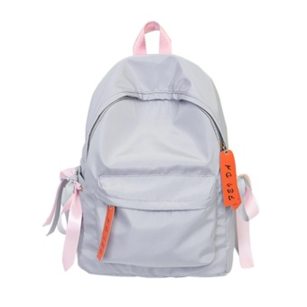 Wanita Ransel Remaja Girls Nylon Schoolbag Shoulder Bag Travel Rucksack (Gray)-Intl