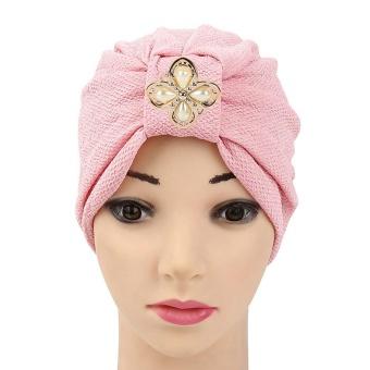 Women Diamonds Muslim Ruffle Hat Beanie Scarf Turban Head Wrap Cap- intl