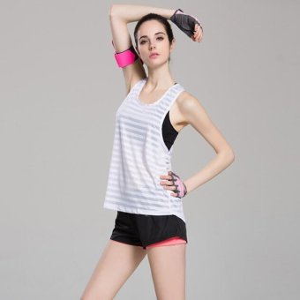 Women Hollow out stirped vest Sport yoga Vest tank Quick dry Gym Running traning Fitness Tops White - intl