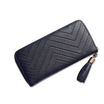 Women Lady Leather Long Wallet Clutch Checkbook Tassel Handbag Purse Card Holder Black - intl