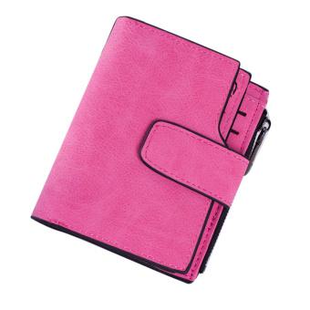 Wanita Menggiling Lipat Mini Ajaib Dompet Kulit Dompet Pemegang Peta Naik Merah-Internasional