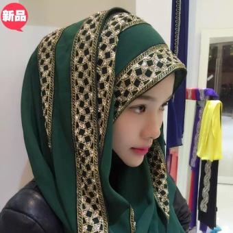 Wanita Muslim Sorban Garnish dengan Golden Sequins (Hijau Gelap)-Intl